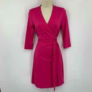 DVF New Julian two cabaret pink wrap dress knit XL